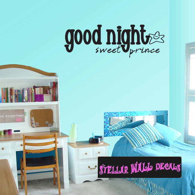 Good Night Sweet Prince Child Teen Wall Decals Wall Quotes Wall