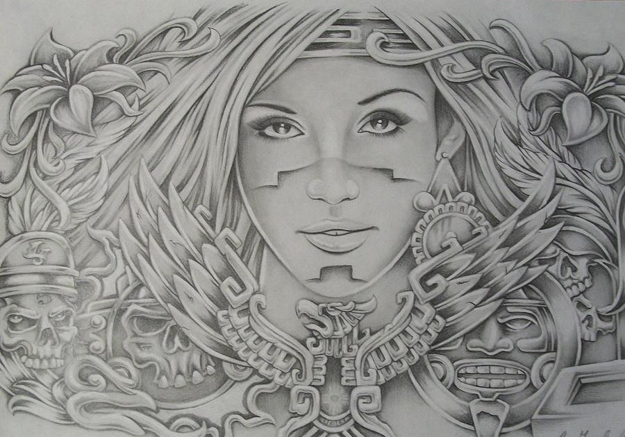 It's just a photo of Impeccable Aztec Princess Drawing
