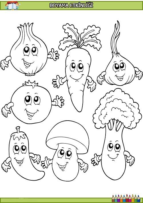 Sevimli Sebzeler Boyama Etkinliği Meb Ders