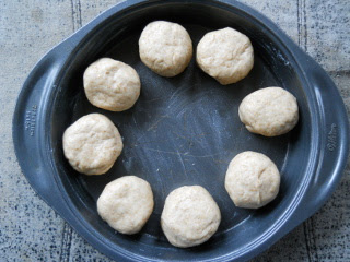 Simple Bread Rolls in Pan Ready to Rise