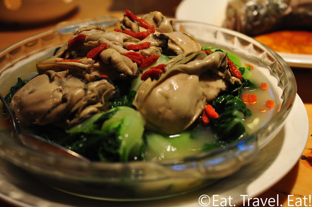 Koi Palace- Daly City, CA: Bok Choy and Oysters in Supreme Broth