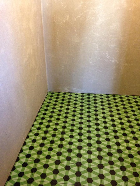 A bold geometric pattern for the lavatory.