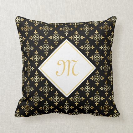 Luxury Monogram Black and Gold Quatre Floral Throw Pillow