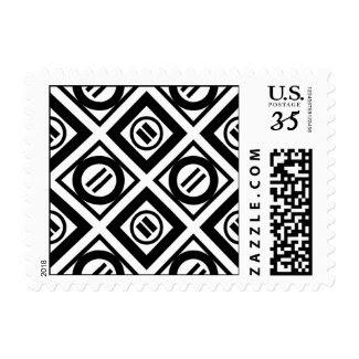 Black Equal Sign Geometric Pattern on White Postage Stamp