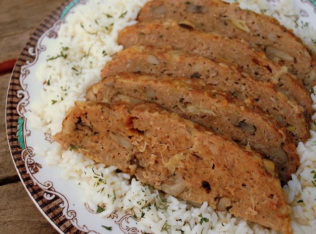 Turkey Meatloaf with leeks, mushrooms and Fontina1