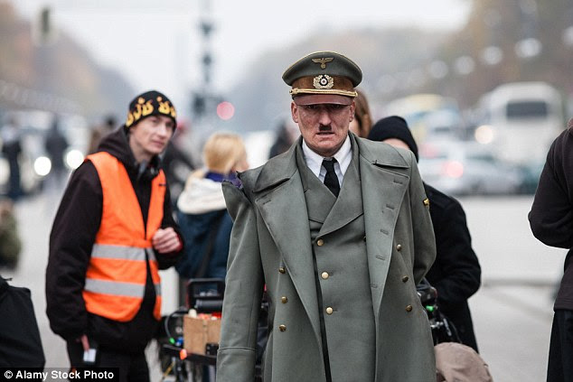 Oliver Masucci plays the Nazi leader (pictured in character) in 'He's Back' ('Er ist wieder da'), a biting social satire by author Timur Vermes which was released in German cinemas this week