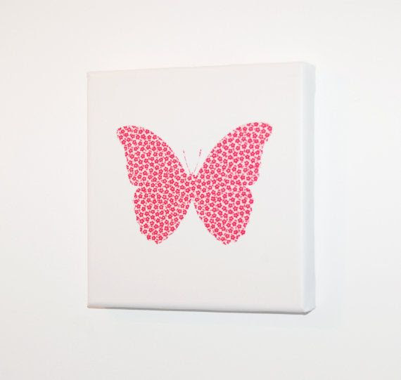 Butterfly canvas print, girls room, baby shower, baby  | butterfly