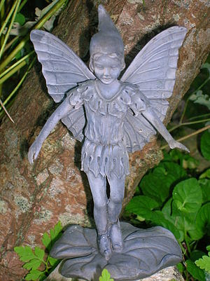 English: A resin statue of a Fairy in natural ...