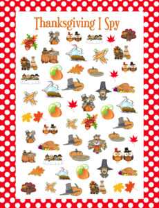 Get your free printable for this Thanksgiving I Spy game.