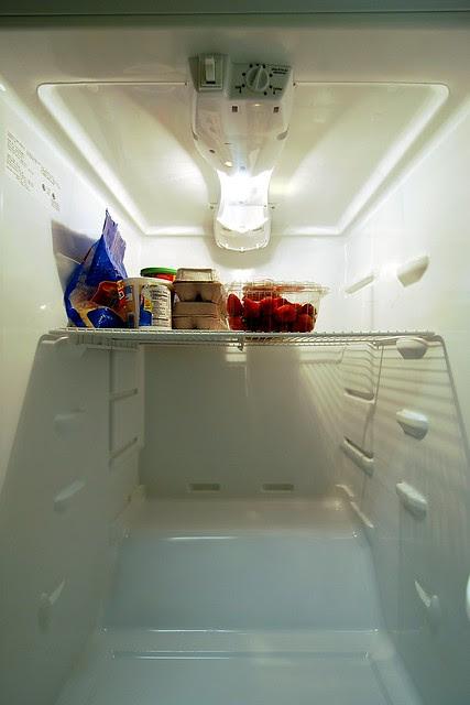 A refrigerator, mostly empty.