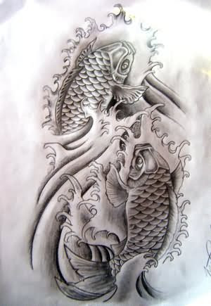 Grey Koi Fish Tattoo