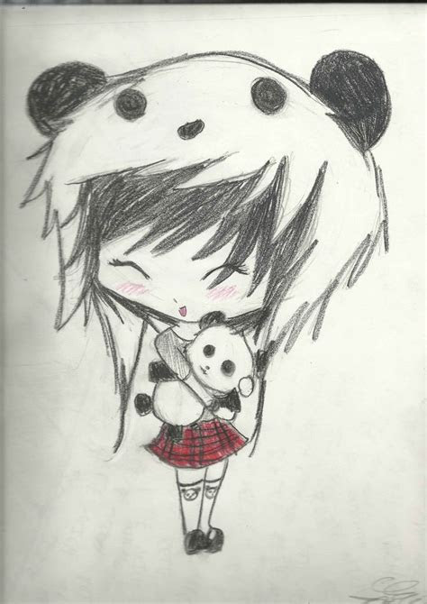 images  anime girl  panda hat anime drawings