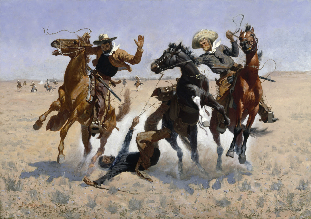 """C++ developers aiding a comrade facing SEGFAULT"" 1890 - Frederic Remington(collaboration from Gary Dusbabek)"