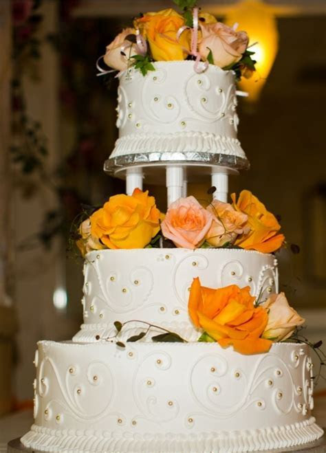 Our beautiful 3 tiered wedding cake with mango strawberry