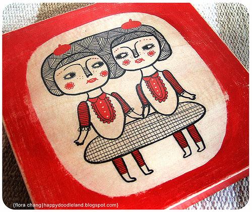 Sisters on Wood Block