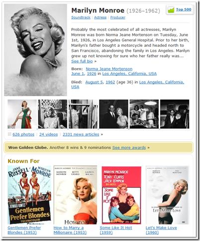 go to IMDb for Marilyn Monroe