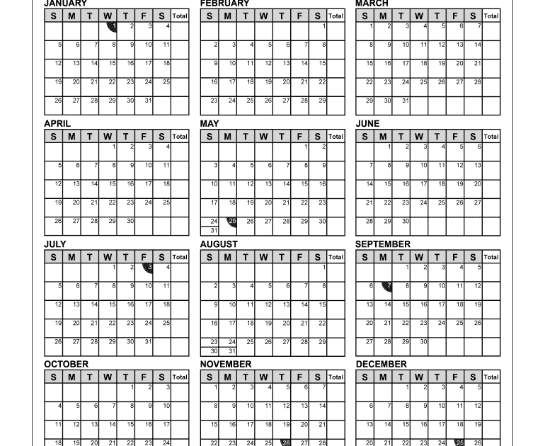 2021 Employee Attendance Calendar Free | Academic Calendar