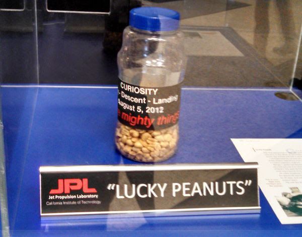 The jar of peanuts that NASA's Curiosity Mars rover team ate during the 'Seven Minutes of Terror' on August 5, 2012.