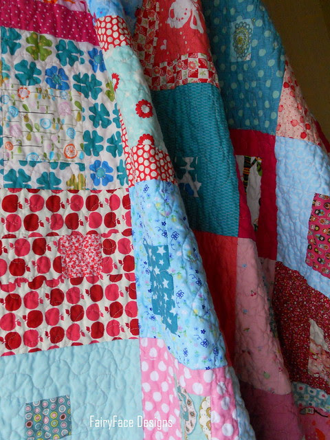 I Spy a Square Quilt hanging