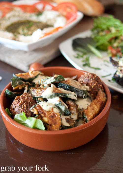 Fried zucchini and falafel at Shenkin Kitchen Enmore