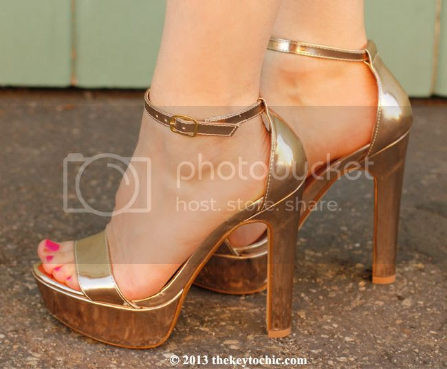 rose gold ankle strap metallic heels, Los Angeles fashion blog