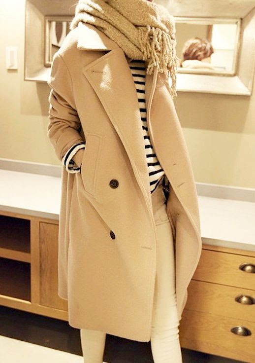 Le Fashion Blog Winter Style Oversized Long Beige Coat Navy And Cream Striped Sweater White Denim Via Wise Queen