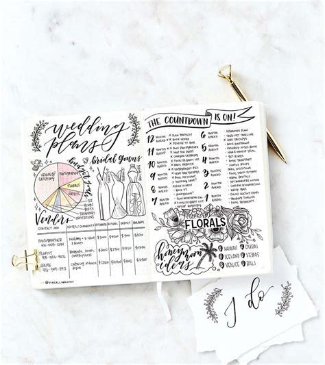 Bullet Journal Spreads To Inspire Your Wedding Planning