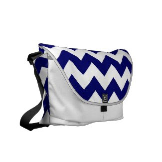 Navy and White Zigzag Messenger Bag