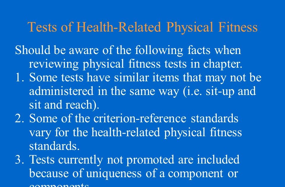Health Related Physical Fitness Test Components - FitnessRetro