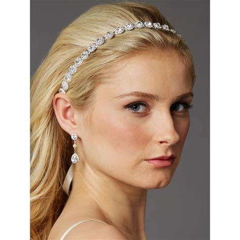 Slim Crystal Bridal Ribbon Headband   Portia   Zaphira Bridal