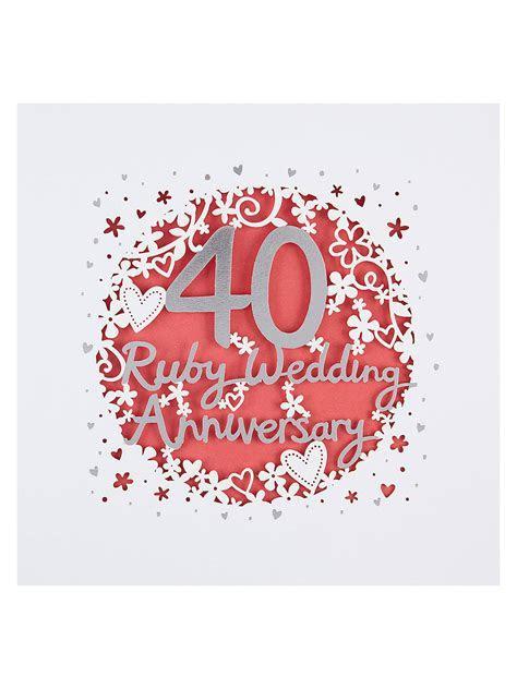 Paperlink 40th Wedding Anniversary Card at John Lewis
