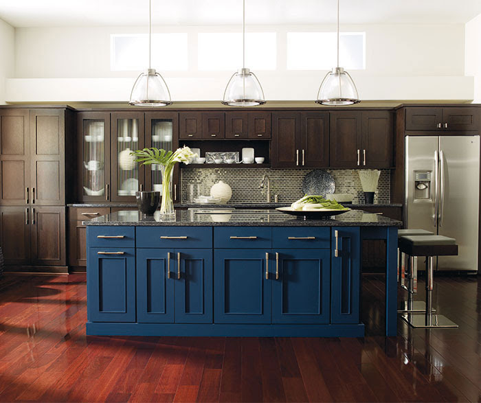Dark Wood Cabinets with a Blue Kitchen Island - Omega