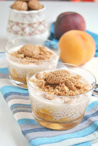 Tapioca Pudding with Caramelized Peaches and Amaretti