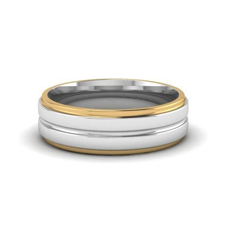 Mens Two Tone Wedding Bands In 18K Yellow Gold