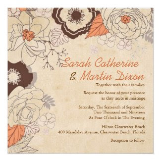 Our Love Blossoms Fall Floral Wedding Invitation