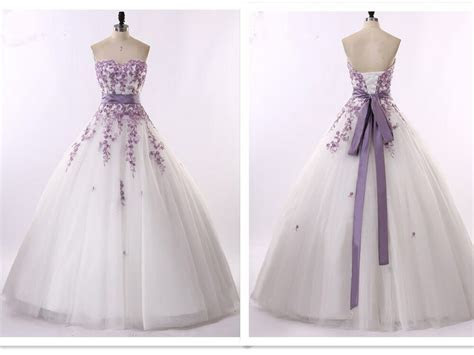 New White and Purple Wedding Dresses Bridal Gowns Size 6 8