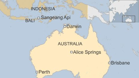 Map of Darwin and other areas affected by ash cloud in Australia and Indonesia