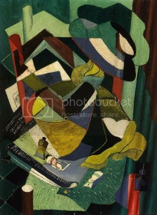 Jane Brewer Cubist Still Life with Hat, Bucket and Chair