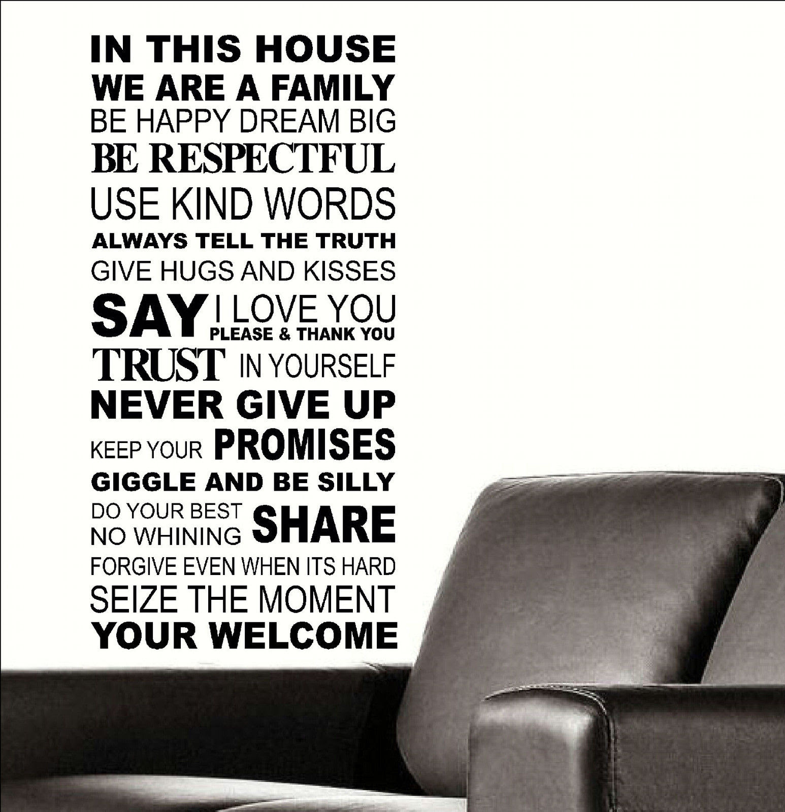Large Quote In This House Rules Trust Say I Love You Wall Sticker