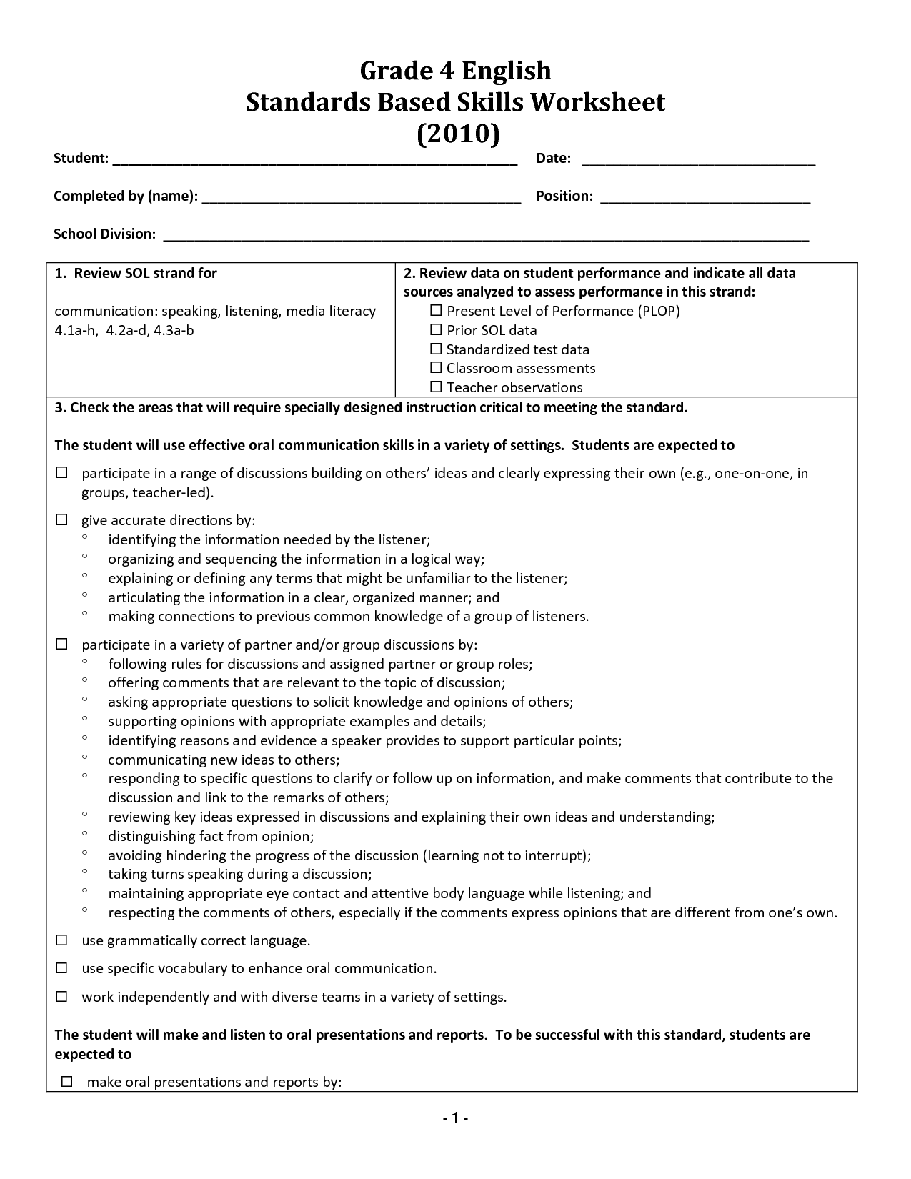 26 English Worksheet For Grade 4 Worksheet Project List