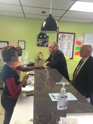 Gov. Jay Nixon visited the restaurant Ferguson Burger Bar & More after arriving in Ferguson on Monday.