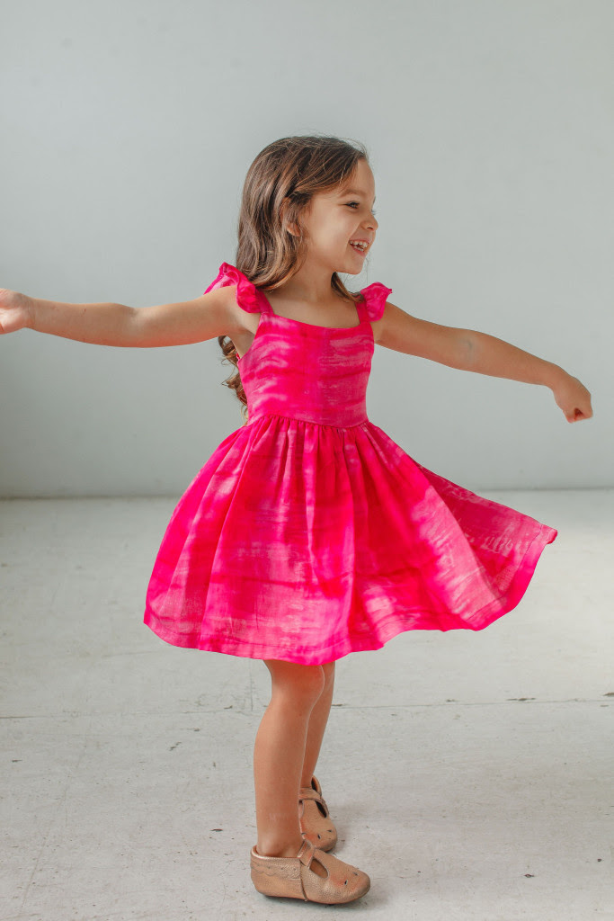 little girls Easter dresses - pink tie dye flutter sleeve dress