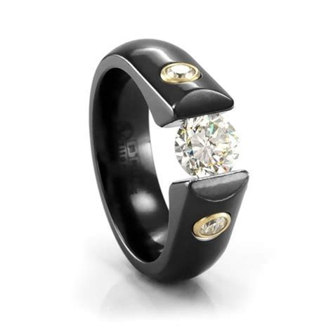 Ladies Black Titanium & Diamond Tension Set Engagement Ring