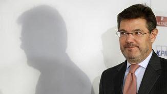 Rafael Catalá, aquest matí, arribant a l'esmorzar informatiu a Madrid (EFE)