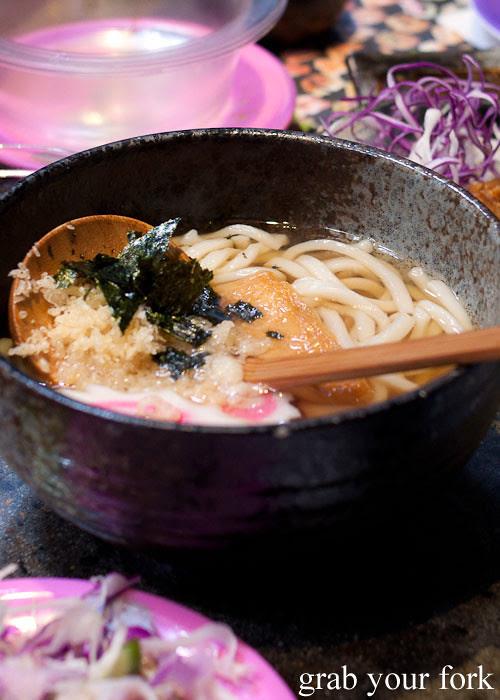 Udon noodles at Umi Kaiten-Zushi