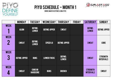 piyo workout schedule month  beachbodypiyo workout