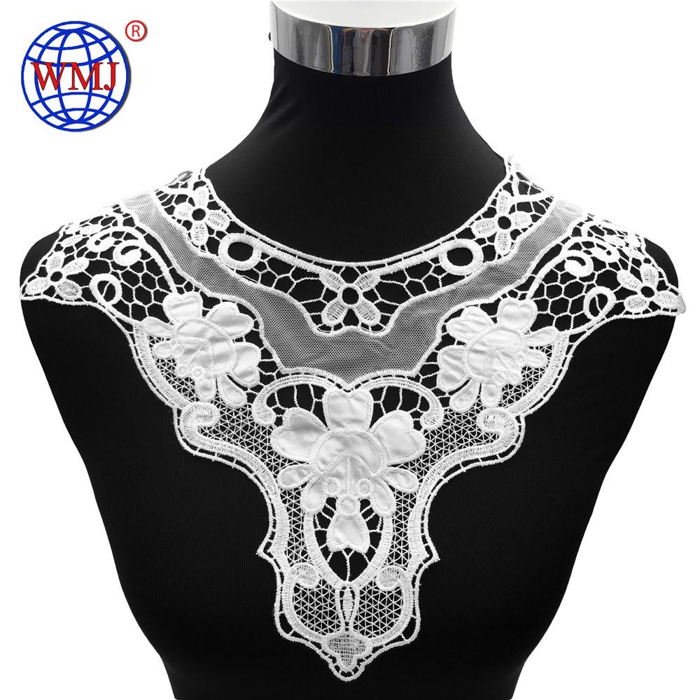 Fashion Italian White Satin Polyester Embroidered Design Lace Collar