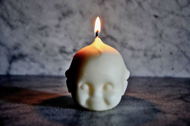 Creepy Baby Head Candle