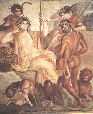 Roman fresco of Hercules and Telephus from Herculaneum which influenced the portrait of Madame Moitessier by JAD Ingres