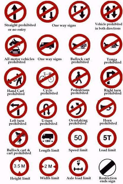 Resimli Ingilizce Trafik Işaretleri